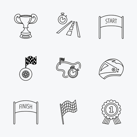 race winner: Winner cup and award icons. Race flag, motorcycle helmet and timer linear signs. Road travel, finish and start flat line icons. Linear black icons on white background.