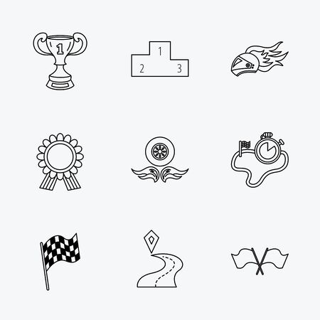 race winner: Winner cup and podium, award medal icons. Race flag, motorcycle helmet and timer linear signs. Destination pointer flat line icons. Linear black icons on white background. Illustration
