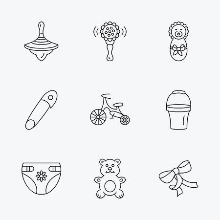 molinete: Reci�n nacido, pa�ales y juguetes de peluche iconos. Primera moto, y bul�n de signos lineales. Rattle, perinola e iconos de l�neas de cubo plana. iconos negros lineales sobre fondo blanco. Vectores