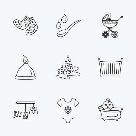 white socks: Baby clothes, bath and hat icons. Pram carriage, spoon with drops linear signs. Socks, baby toys and bubbles flat line icons. Linear black icons on white background.