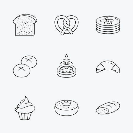 bread rolls: Croissant, pretzel and bread icons. Cupcake, cake and sweet donut linear signs. Pancakes, toast and bread rolls flat line icons. Linear black icons on white background. Illustration