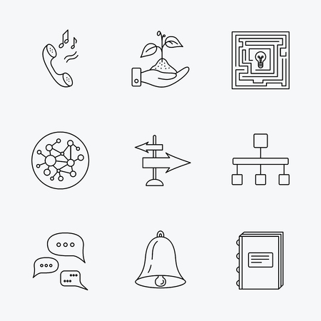 global direction: Conversation, global network and direction icons. Save nature, maze and book linear signs. Bell and phone ringtone flat line icons. Linear black icons on white background. Illustration