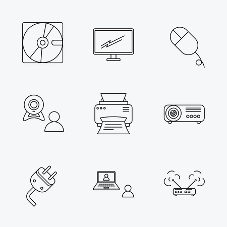 portative: Monitor, printer and wi-fi router icons. Video chat, electric plug and pc mouse linear signs. Projector, hard disk icons. Linear black icons on white background. Illustration