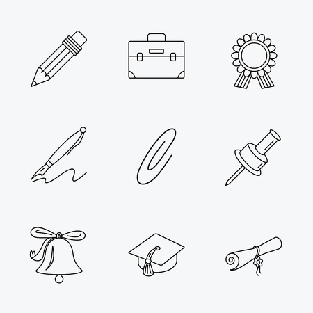 first year student: Graduation cap, pencil and diploma icons. Award medal, briefcase and bell linear signs. Pen, safety pin icons. Linear black icons on white background.