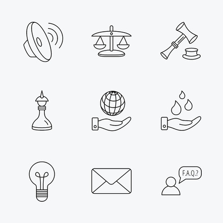 auction: Strategy, auction and scales of justice icons. Save planet, water and lamp lightbulb linear signs. Faq and law hammer flat line icons. Linear black icons on white background.