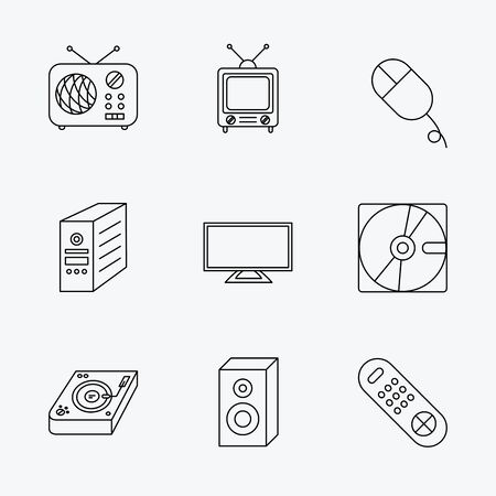 cd case: Sound, club music and retro radio icons. PC mouse and case, hard disk linear signs. TV remote icons. Linear black icons on white background.