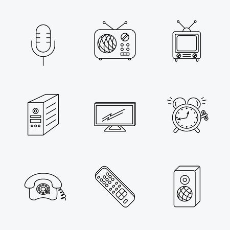 pc case: TV remote, retro phone and radio icons. PC case, microphone and alarm clock linear signs. Linear black icons on white background. Illustration