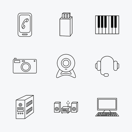 pc case: Photo camera, headphones and Usb flash icons. PC case, computer with monitor and web camera linear signs. Piano icons. Linear black icons on white background.