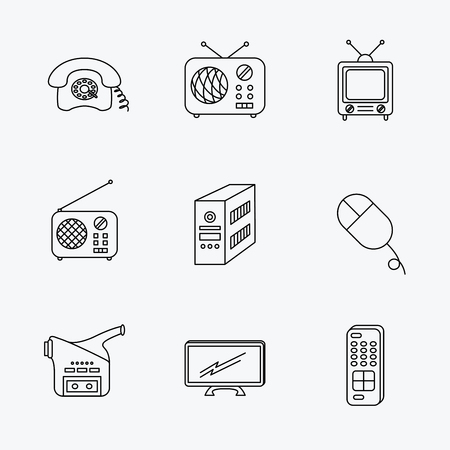 pc case: Radio, TV remote and video camera icons. Retro phone, PC case and mouse linear signs. Linear black icons on white background. Illustration