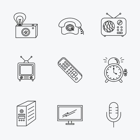 pc case: Retro camera, radio and phone call icons. Monitor, PC case and microphone linear signs. TV remote, alarm clock icons. Linear black icons on white background. Illustration
