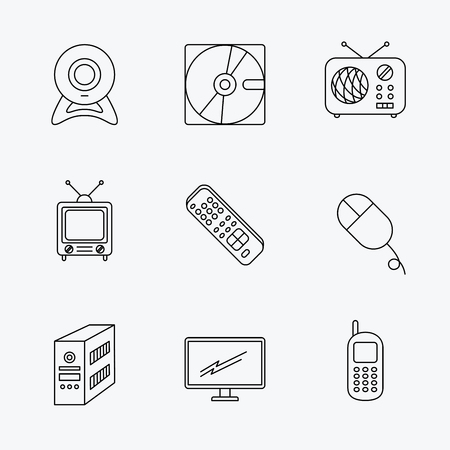 pc case: Web camera, radio and mobile phone icons. Monitor, PC case and TV remote linear signs. Hard disk and PC mouse icons. Linear black icons on white background. Illustration