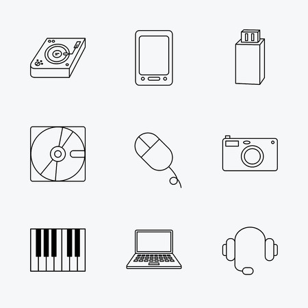 usb disk: Tablet PC, USB flash and notebook laptop icons. Club music, hard disk and photo camera linear signs. Piano, headphones icons. Linear black icons on white background.