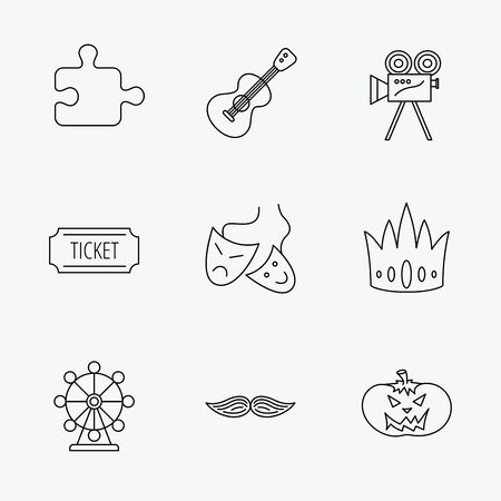 ticket icon: Puzzle, guitar music and theater masks icons. Ticket, video camera and crown linear signs. Entertainment, halloween pumpkin and mustache icons. Linear black icons on white background.