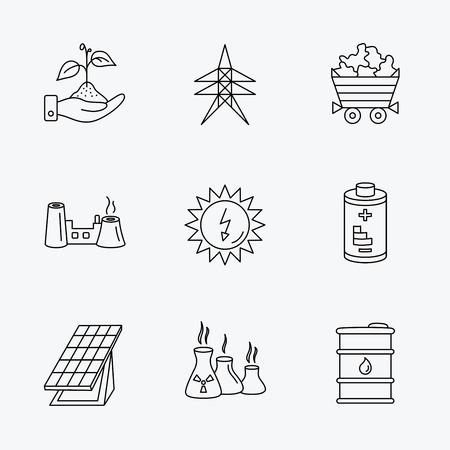 solar collector: Solar collector energy, battery and oil barrel icons. Minerals, electricity station and factory linear signs. Industries, save nature icons. Linear black icons on white background.