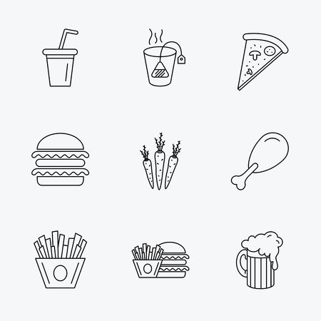 hamburger and fries: Hamburger, pizza and soft drink icons. Beer, tea bag and chips fries linear signs. Chicken leg, carrot icons. Linear black icons on white background.
