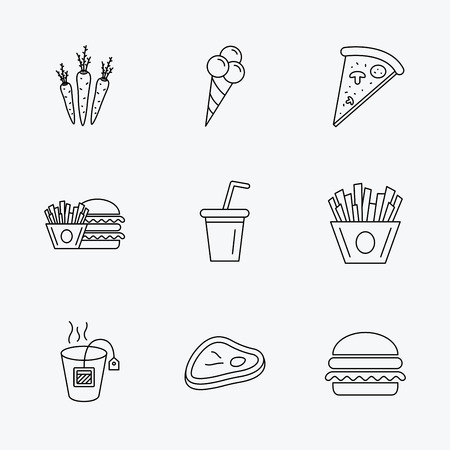 ice tea: Hamburger, pizza and soft drink icons. Tea bag, meat and chips fries linear signs. Ice cream, carrot icons. Linear black icons on white background.