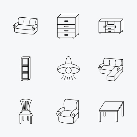 shelving: Corner sofa, table and armchair icons. Chair, ceiling lamp and chest of drawers linear signs. Shelving, furniture flat line icons. Linear black icons on white background.