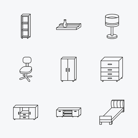 chest wall: Single bed, TV table and shelving icons. Office chair, table lamp and cupboard linear signs. Wall shelf, chest of drawers icons. Linear black icons on white background.