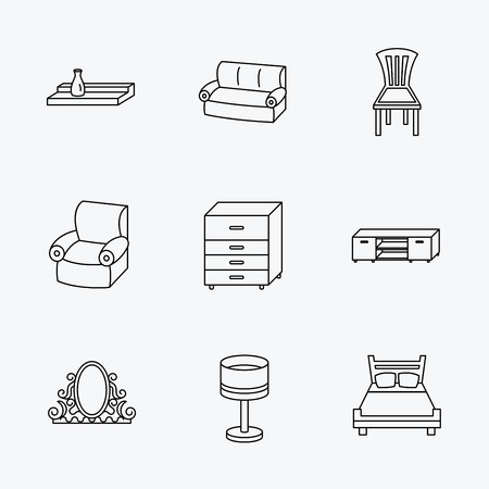 chest wall: Double bed, table lamp and armchair icons. Chair, lamp and vintage mirror linear signs. Wall shelf, sofa and chest of drawers furniture icons. Linear black icons on white background.