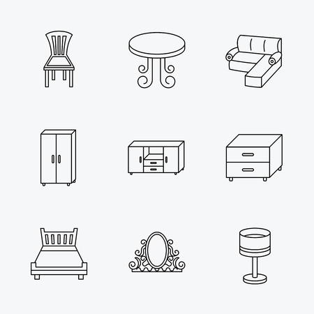 nightstand: Corner sofa, table and cupboard icons. Chair, lamp and nightstand linear signs. Vintage mirror, double bed and chest of drawers icons. Linear black icons on white background. Illustration