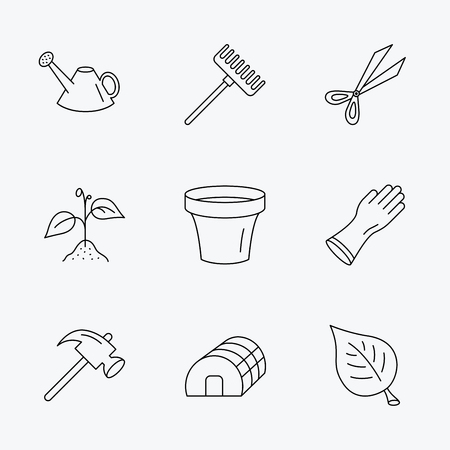 hothouse: Sprout plant, scissors and pot icons. Gloves, rake and watering can linear signs. Hothouse, leaf and hammer flat line icons. Linear black icons on white background. Illustration