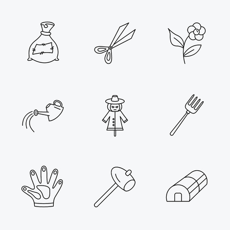 hothouse: Hammer, hothouse and watering can icons. Bag of fertilizer, scissors and flower linear signs. Hammer, scarecrow and pitchfork flat line icons. Linear black icons on white background. Illustration