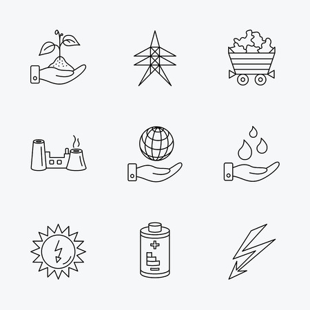minerals: Save nature, planet and water icons. Minerals, lightning and solar energy linear signs. Battery, factory and electricity station icons. Linear black icons on white background.