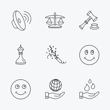 chess set: Scales of justice, auction hammer and strategy icons. Save planet and water linear signs. Smile, slapstick icons. Linear black icons on white background. Illustration