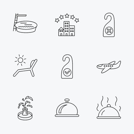 hotel pool: Hotel, swimming pool and beach deck chair icons. Reception bell, restaurant food and airplane linear signs. Do not disturb and clean room flat line icons. Linear black icons on white background.