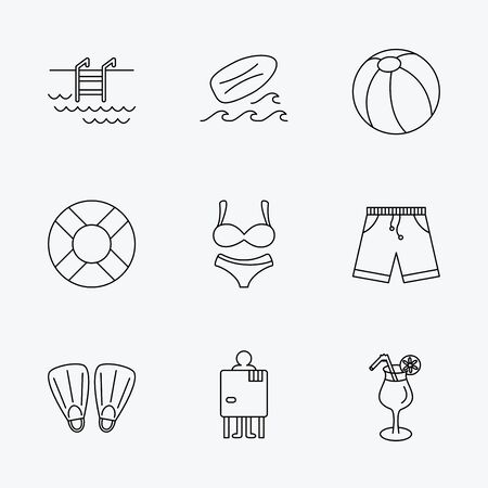 swimming shorts: Surfboard, swimming pool and trunks icons. Beach ball, lingerie and shorts linear signs. Lifebuoy, cocktail and changing cabin icons. Linear black icons on white background.