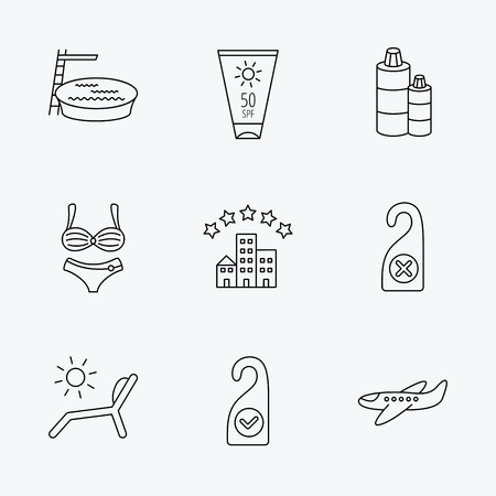 Hotel, swimming pool and beach deck chair icons. Sun cream, do not disturb and clean room linear signs. Shampoo and airplane icons. Linear black icons on white background. Illustration