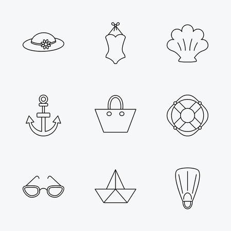 glases: Paper boat, shell and swimsuit icons. Lifebuoy, glases and women hat linear signs. Anchor, ladies handbag icons. Linear black icons on white background.