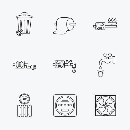 electricidad: Ventilación, radiador y el contador de agua iconos. de papel, de gas y electricidad contadores lineales signos toiler. icono de la papelera. iconos negros lineales sobre fondo blanco.