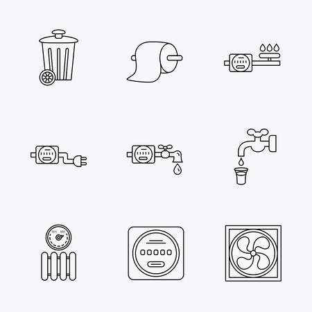 toilet icon: Ventilation, radiator and water counter icons. Toiler paper, gas and electricity counters linear signs. Trash icon. Linear black icons on white background. Illustration