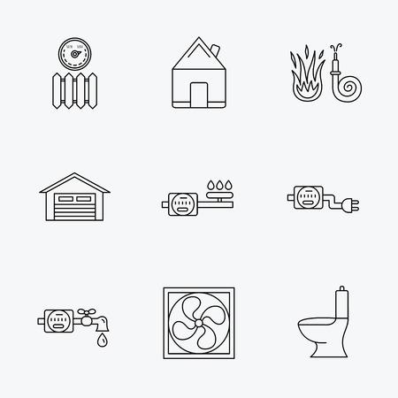 toilete: De ventilaci�n, de garaje y el radiador de calor iconos. Gas, agua y electricidad contador de signos lineales. Bienes ra�ces, aseo y mangueras de incendios iconos. iconos negros lineales sobre fondo blanco.