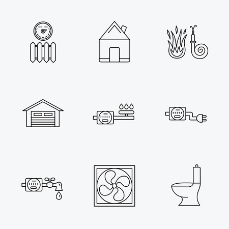 public toilet: Ventilation, garage and heat radiator icons. Gas, water and electricity counter linear signs. Real estate, toilet and fire hose icons. Linear black icons on white background.