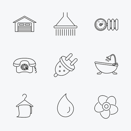 grey line: Ventilation, heat radiator and electric plug. Retro phone, shower and garage linear signs. Water drop, bath towel icons. Linear black icons on white background.