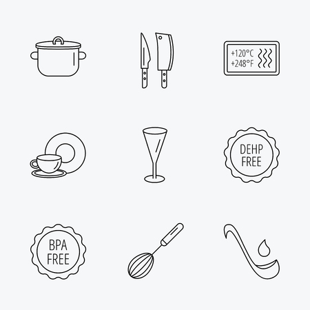 bpa: Kitchen knives, glass and pan icons. Food and drink, coffee cup and whisk linear signs. Soup ladle, heat-resistant and DEHP, BPA free icons. Linear black icons on white background.