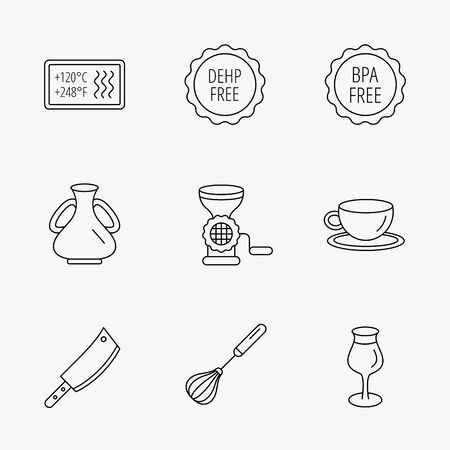 bpa: Coffee cup, butcher knife and wineglass icons. Meat grinder, whisk and vase linear signs. Heat-resistant, DEHP and BPA free icons. Linear black icons on white background. Illustration