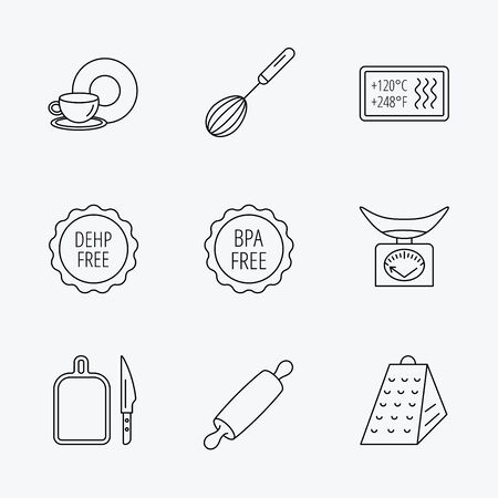 bpa: Kitchen scales, whisk and grater icons. Rolling pin, board and knife linear signs. Food and drink, BPA, DEHP free icons. Linear black icons on white background.