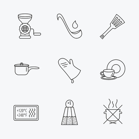 meat  grinder: Soup ladle, potholder and kitchen utensils icons. Salt, not boil and saucepan linear signs. Meat grinder, water drop and coffee cup icons. Linear black icons on white background.