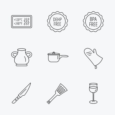 bpa: Saucepan, potholder and wineglass icons. Kitchen knife, utensils and vase linear signs. Heat-resistant, BPA, DEHP free icons. Linear black icons on white background.