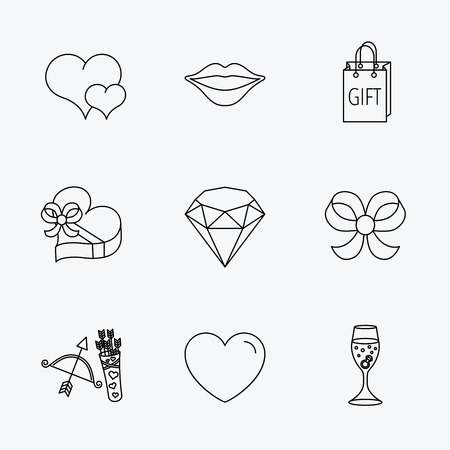 shopping champagne: Love heart, brilliant and engagement ring icons. Bow, smile and gift box linear signs. Valentine amour arrows flat line icons. Linear black icons on white background.