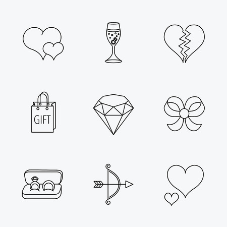 shopping champagne: Love heart, gift box and wedding rings icons. Broken heart and engagement linear signs. Valentine amour arrow, brilliant flat line icons. Linear black icons on white background. Illustration