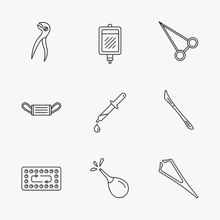 tweezers: Medical mask, blood and dental pliers icons. Contraception, scalpel and clyster linear signs. Tweezers, pipette and forceps flat line icons. Linear black icons on white background.