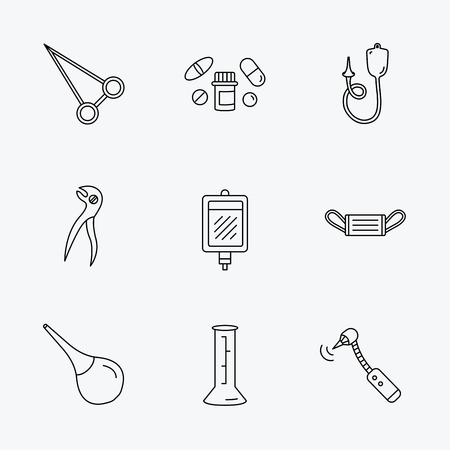 enema: Medical mask, blood and dental pliers icons. Pills, drilling tool and clyster linear signs. Enema, lab beaker and forceps flat line icons. Linear black icons on white background.