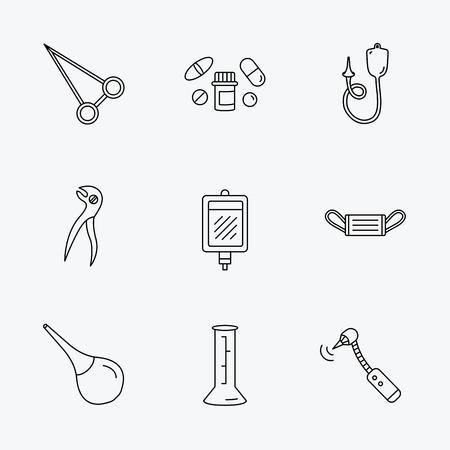 einlauf: Medizinische Maske, Blut und Zahnzange Symbole. Pillen, Bohrwerkzeug und clyster lineare Zeichen. Enema, Laborbecher und Pinzette flache Linie Symbole. Linear schwarzen Symbolen auf wei�em Hintergrund.