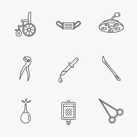 surgical mask: Medical mask, scalpel and dental pliers icons. Pipette, surgical lamp and wheelchair linear signs. Blood donation, clyster and drop flat line icons. Linear black icons on white background.