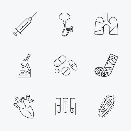 bacteria in heart: Broken foot, lungs and syringe icons. Stethoscope, pills and microscope linear signs. Bacteria, heart and lab bulbs flat line icons. Linear black icons on white background.