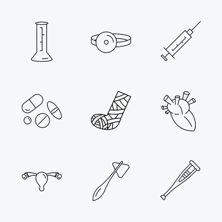 Syringe, beaker and pills icons. Crutch, medical hammer and mirror linear signs. Heart, broken leg and uterus ovary icons. Linear black icons on white background. Illustration